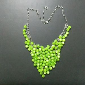 Green Cat's Eye Bead Necklace